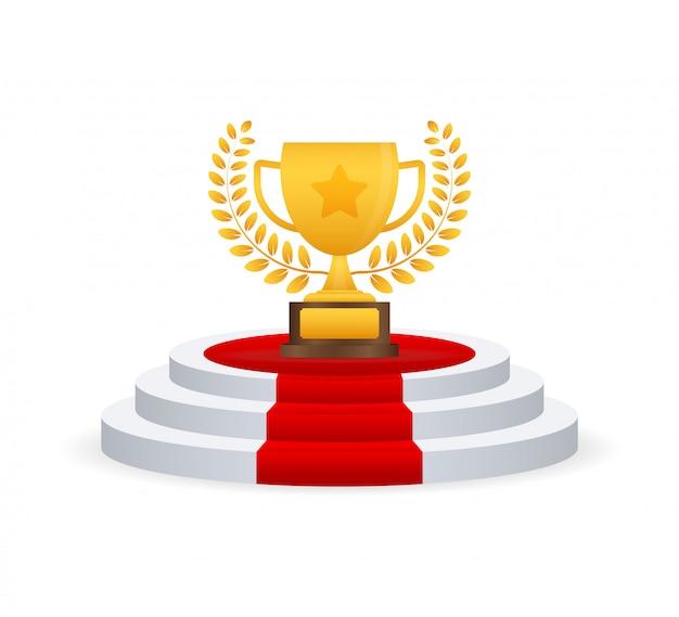 Trophée coupe vector icon plat avec couronne d'étoiles et de lauriers.