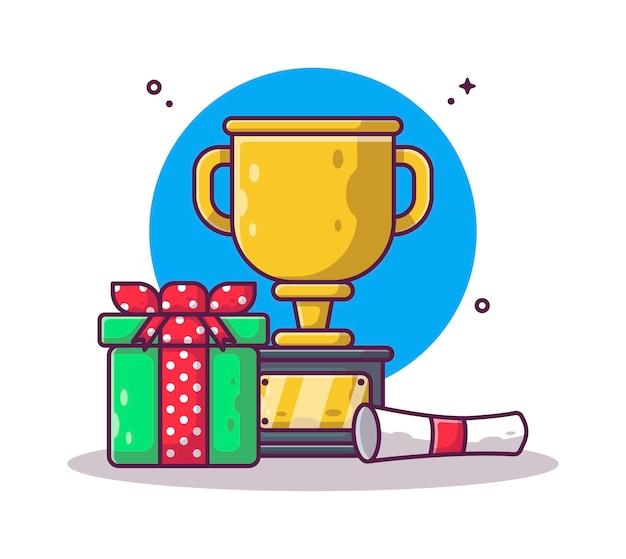 Trophée et diplôme avec boîte-cadeau cartoon