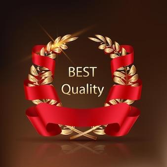 Trophée gagnant. meilleur label de qualité feuilles d'or