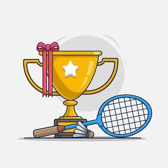 Trophée avec illustration d'icône sport badminton