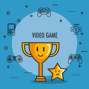 Trophée de jeu vidéo et icônes de bouton star award