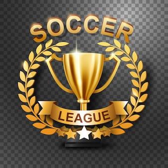 Trophée de la ligue de football avec une couronne de lauriers d'or