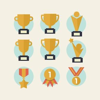 Trophée et médailles icône du design