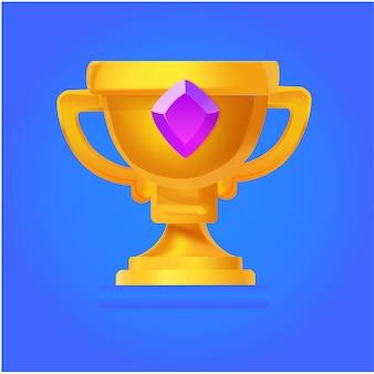 Trophée d'or plat de vecteur pour le jeu