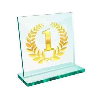 Trophée d'or pour la première place sur un piédestal en verre