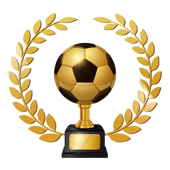 Trophée d'or réaliste de ballon de football avec une couronne de lauriers d'or