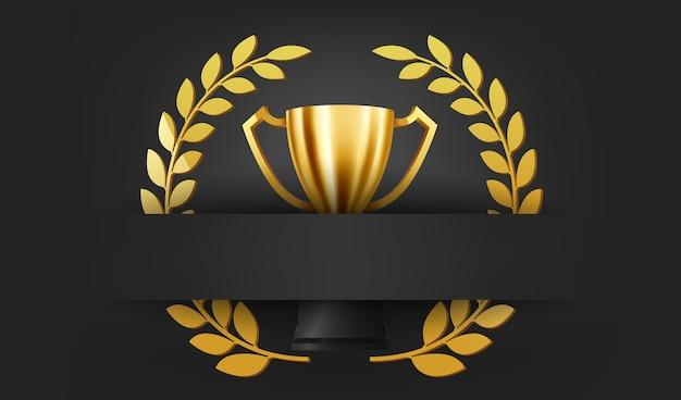 Trophée d'or réaliste avec couronne de laurier