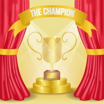 Trophée d'or réaliste pour le fond de champion