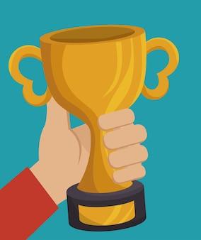 Trophée, or, récompense, isolé