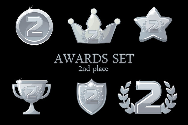 Trophée des récompenses des collections. ensemble d'icônes de prix d'argent, insigne de gagnant de la 2e place, prix de la coupe du trophée, récompenses de gagner, couronne de succès, illustration