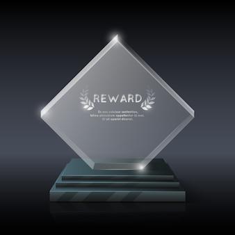 Trophée trophée en verre de cristal réaliste de vecteur