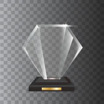 Trophée de verre acrylique vierge réaliste transparent