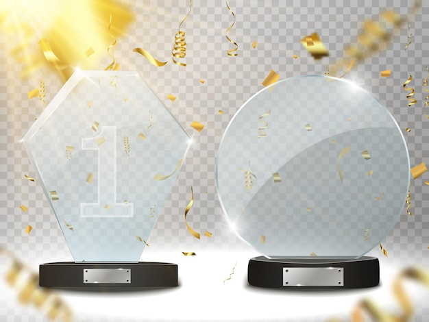 Trophée de verre award vector illustration