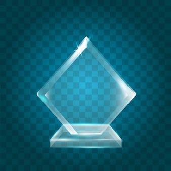 Trophée de verre de cristal acrylique blanc brillant transparent