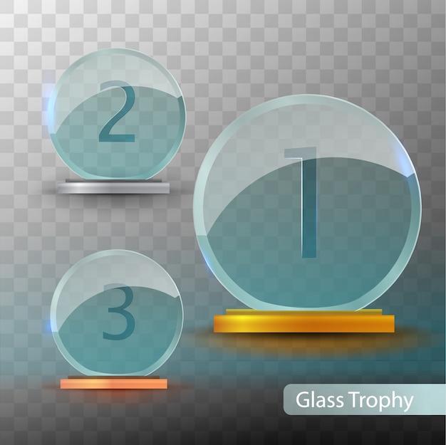 Trophée de verre. ensemble de tasses - première, deuxième et troisième place. modèle de prix. modèle de récompense d'or, d'argent ou de bronze.