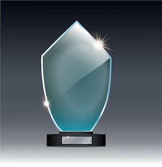 Trophée en verre sur fond gris. objet transparent vecteur 10 eps.