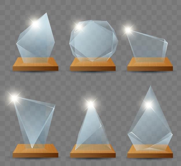 Trophée de verre gagnant réaliste première place