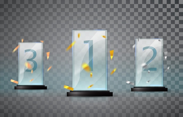 Trophée en verre isolé sur fond transparent. ensemble de tasses - première, deuxième et troisième place.