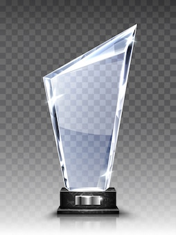 Trophée en verre ou prix acrylique gagnant réaliste