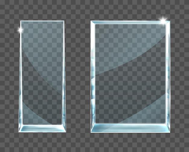 Trophée en verre de récompense sur fond transparent.