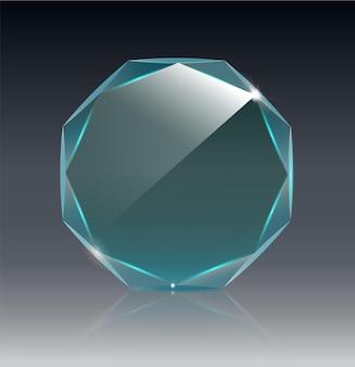 Trophée de verre de vecteur vide réaliste récompense réaliste d design vectoriel objet transparent eps