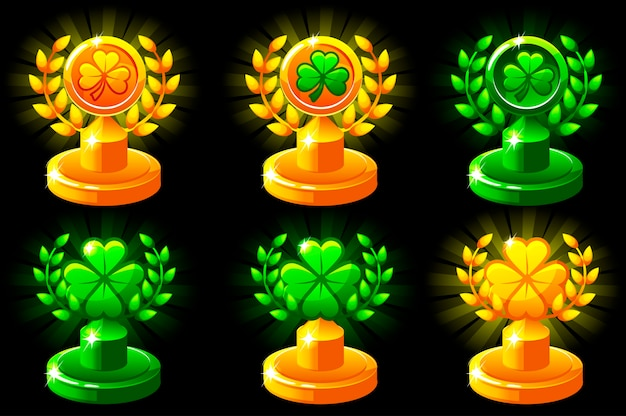Trophées de la st patrick. couronne de laurier de la victoire et clou de girofle pour jeu mobile