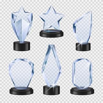 Trophées transparents. crystal cups awards event symbols collection de trophées en verre réalistes