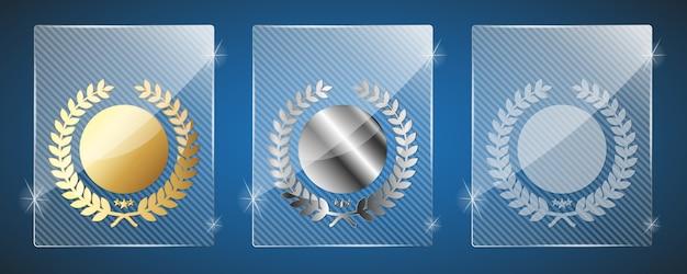 Trophées en verre. illustration. trois variantes