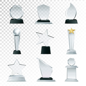 Trophées en verre moderne et collection de jeu d'icônes réalistes de prix côté défis
