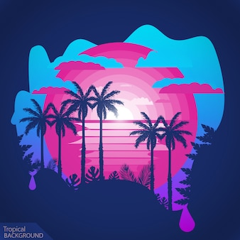 Tropic palmiers au coucher du soleil.