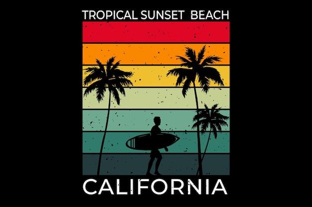 Tropical coucher de soleil plage californie surf style rétro