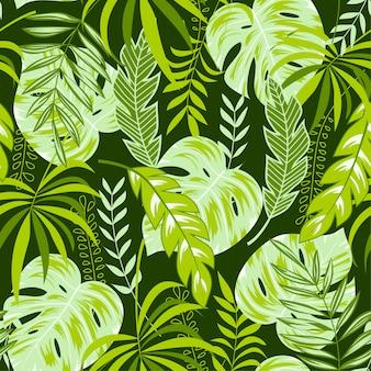 Tropical fond sans couture avec des feuilles vertes et pastel vives