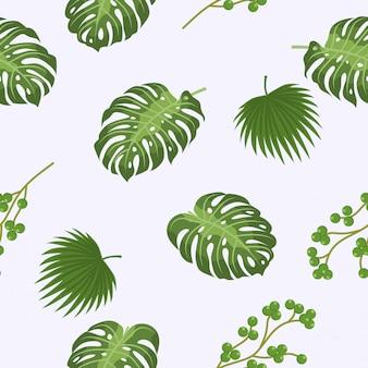 Tropical modèle abstrait sans soudure feuilles et plantes sur un fond délicat.