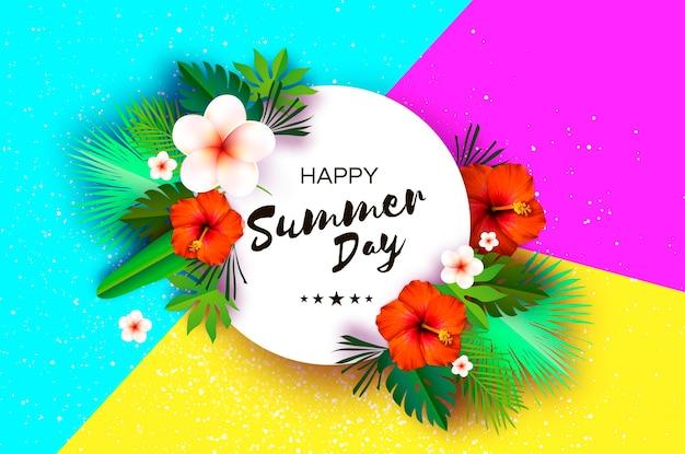 Tropical summer palm laisse plantes fleurs frangipanier plumeria hibiscus rouge papier exotique coupe art cadre hawaiian circle