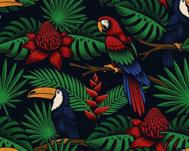 Tropical transparente avec des oiseaux et des fleurs exotiques