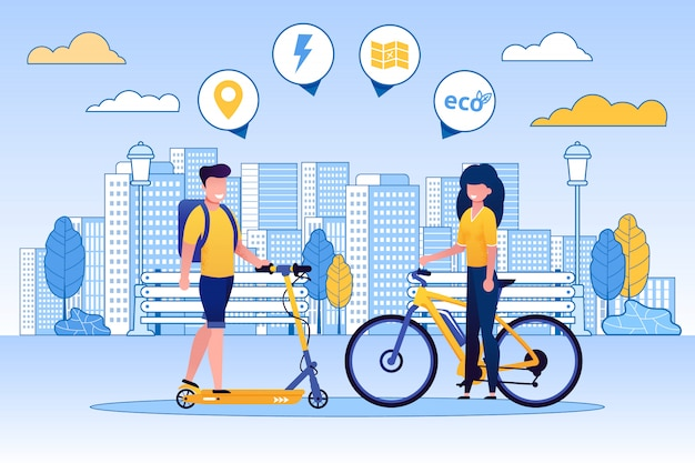 Trottinette homme, femme à vélo, eco concept.
