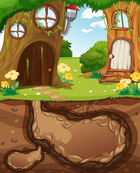 Trou animal souterrain avec surface au sol de la scène du jardin
