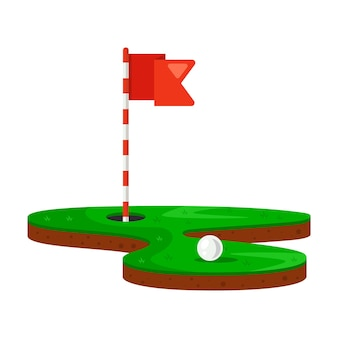 Trou et balle de golf sur une pelouse verte. illustration vectorielle plane.