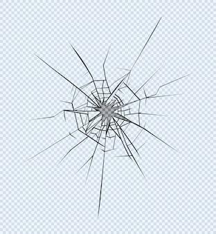 Trou dans le verre brisé