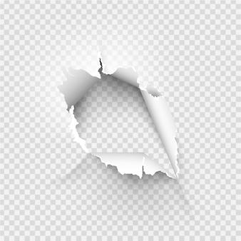 Trou déchiqueté déchiré dans du papier déchiré