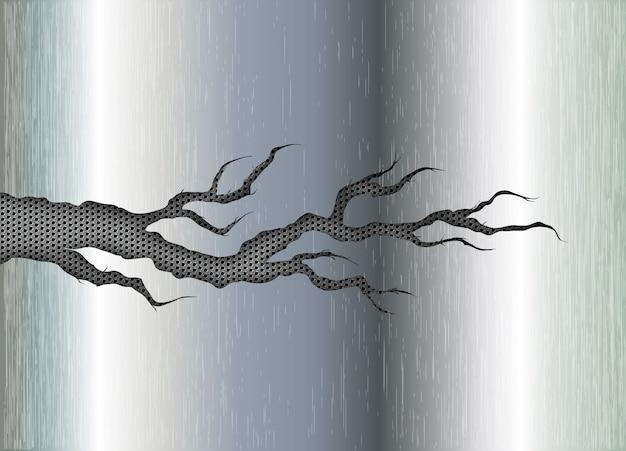 Trou déchiré déchiré en acier déchiré sur fond métallique