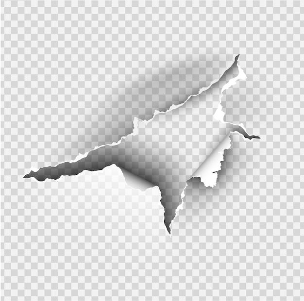 Trou déchiré en papier déchiré sur fond transparent