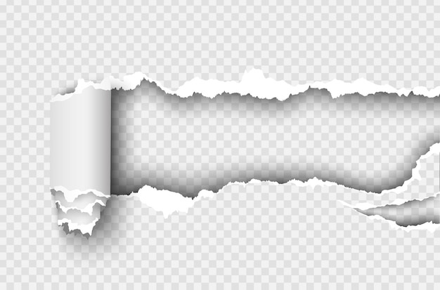 Trou déchiré en papier déchiré sur transparent