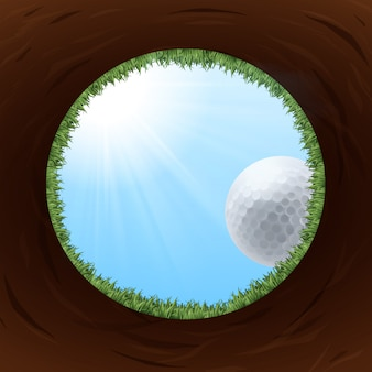 Un trou de golf vu de dessous