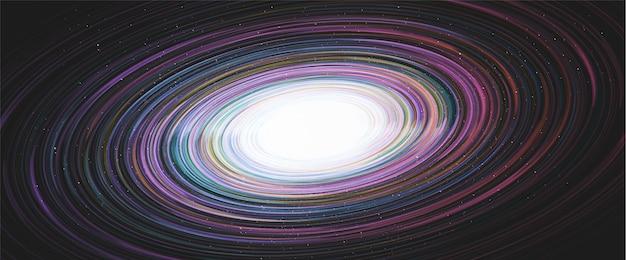 Trou noir coloré brillant sur fond de galaxie