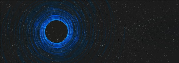 Trou noir de nuit sur fond de l'univers cosmique sur la galaxie interstellaire, espace libre pour le texte.