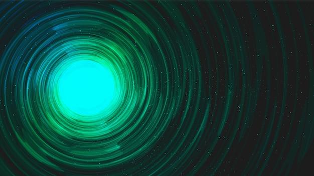 Trou noir réaliste en spirale vert clair sur fond de galaxie