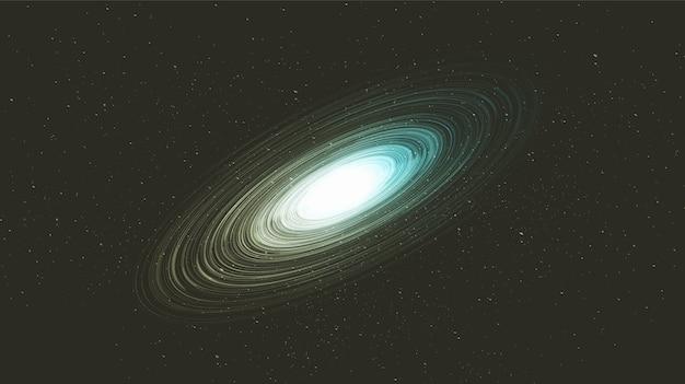 Trou noir en spirale bleue minimale sur fond de galaxie