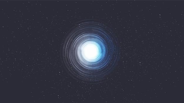 Trou noir en spirale minimale sur fond de galaxie.planète et conception de concept de physique.