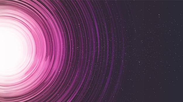 Trou noir en spirale rose sur fond de galaxie